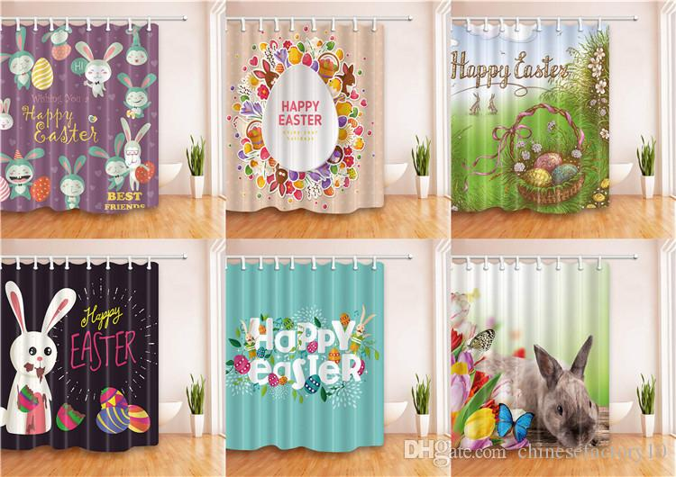 Baby Happy Easter 3D Bathroom Shower Bunny Curtains Home Rabbit ...