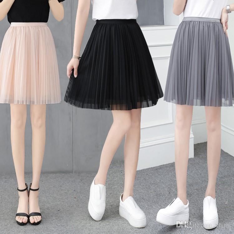 a37f3d986c1f47 2018 été femme dames courte jupe plissée jupe irrégulière 4 couleurs jupe  livraison gratuite taille libre