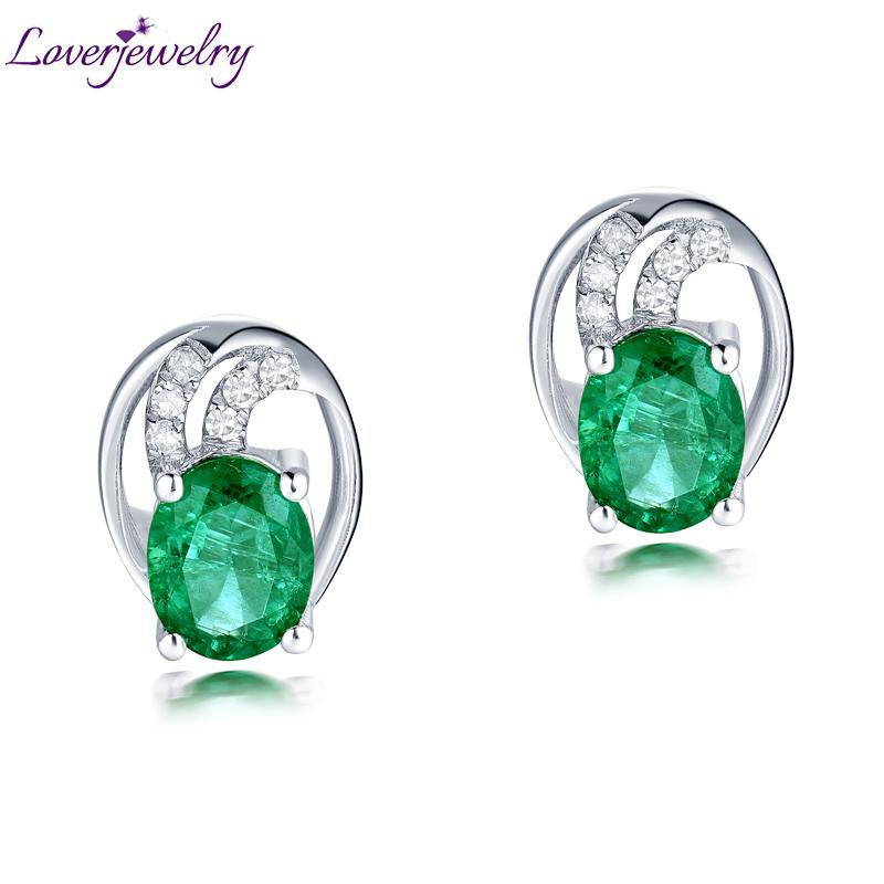 8a6e73e8232a Compre Loverjewelry Diseño Vintage Sólido 18 K Oro Blanco Elegante Natuarl  Esmeralda Pendientes De Diamantes Para Mujeres De Buena Calidad Piedra  Preciosa ...