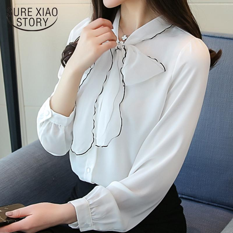 34d4f9d4 2019 2018 New Spring Fashion Chiffon Women Blouses Bow Long Sleeved Blouses  Office Lady Sweet Style Shirts Women Clothing D445 30 From Beatricl, ...