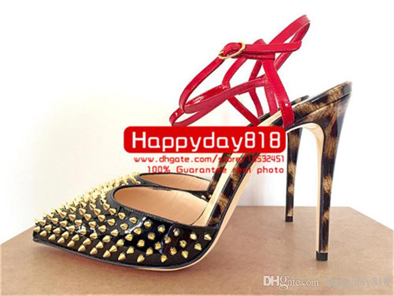 2f682a22c5e2 Fee Women Pumps Black Patent Leather Gold Spikes Slingabck Sandals Pointed  Toe High Heels Bride Wedding Shoes Pumps Real Photo Boat Shoes Shoes For  Men From ...