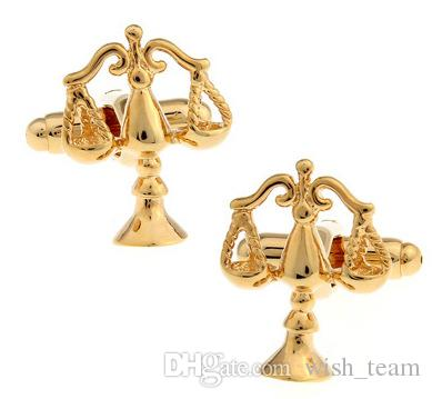 High Quality Golden Libra Scales of Justice Cufflinks for men shirt Wedding Cufflinks French Cuff Links Fashion Jewelry Best Gift