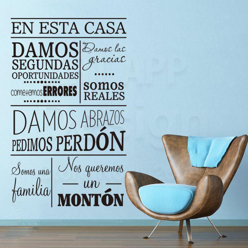 Art New Design House Decor Vinyl Spanish Home Rules Words Wall