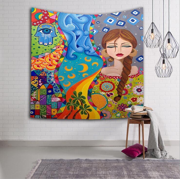 böhmische indische Tapisserie Retro Cartoons Mädchen rechteckigen Wandbehang Hippie Wandbehang Digitaldruck Strandtücher Sonnencreme Schals
