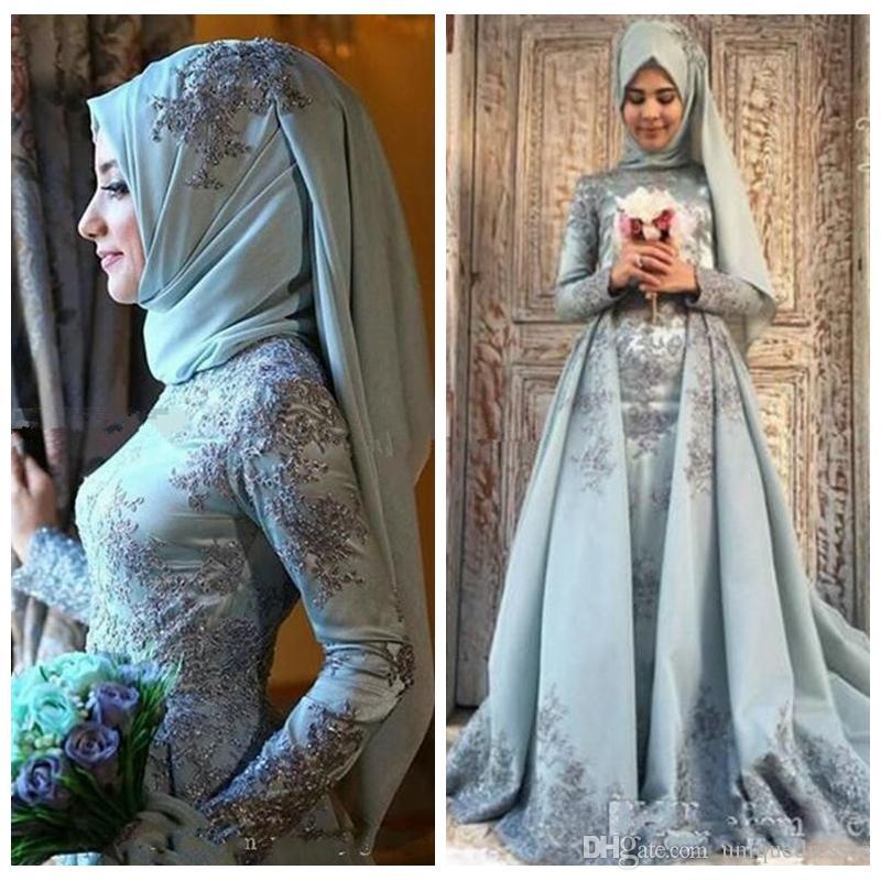 2018 türkische traditionelle Ballkleider mit Hijab-Spitzenapplikationen mit langen Ärmeln A Line Abendkleider Muslim Party Dress