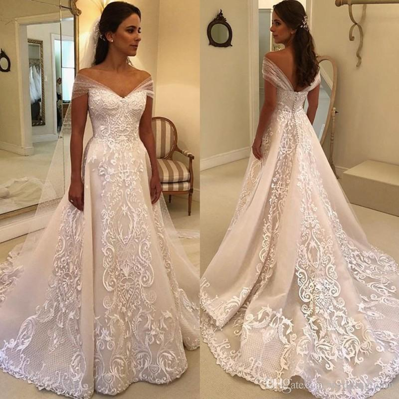 42c2e67694 Discount Vintage A Line Lace Wedding Dresses Off The Shoulder Cheap  Appliqued Bridal Gowns Court Train Tulle Covered Buttons Back Vestido De  Novia Wedding ...