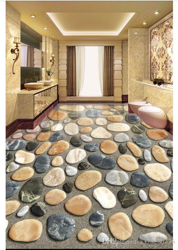 3D PVC Bodenbelag Wasserdicht selbstklebend 3D Tapete angepasst Boden Malerei Wand Papier Wandaufkleber Bad 3D Boden gemalt Kiesel