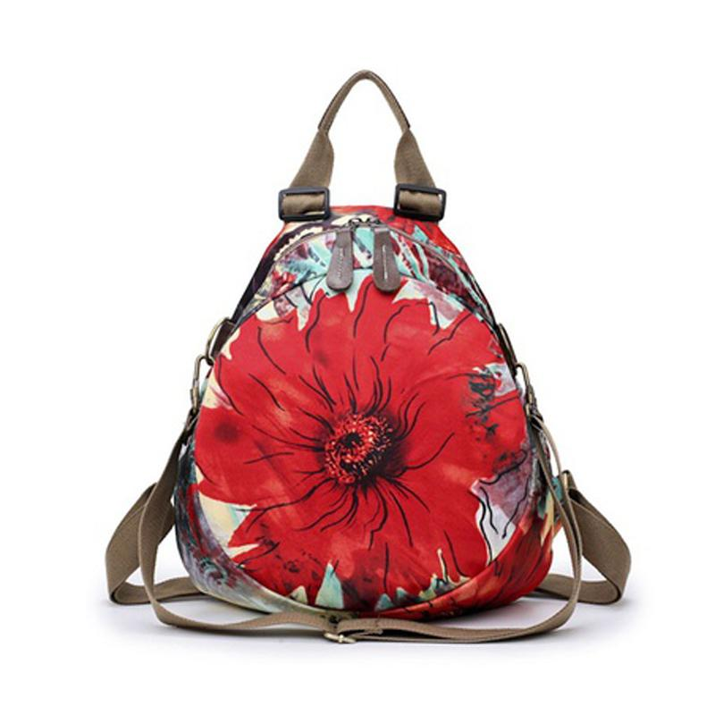 7ec6750b1a8 Hot Female Printing Nylon Backpack Women Small Vintage Floral Travel Casual Backpacks  Womens Backpacks Pink Backpacks From Whataver