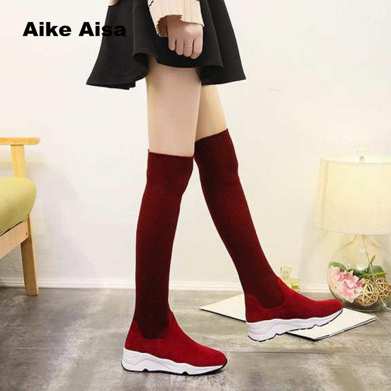 0599992b3 2019 New Winter Fashion Women Over The Knee Boots Casual Sexy High Heels  Shoes Winter Warm Snow Botas Botas De Mujer Red 5560 Biker Boots Boots For  Men From ...