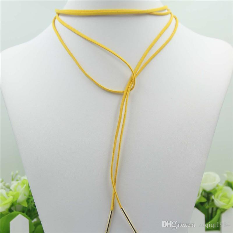 الملونة بوهيميا مثير جلدية المختنق قلادة مجوهرات طويل الشرابة قابل للتعديل الذهب بار المعلقات القلائد المختنقون الأسود