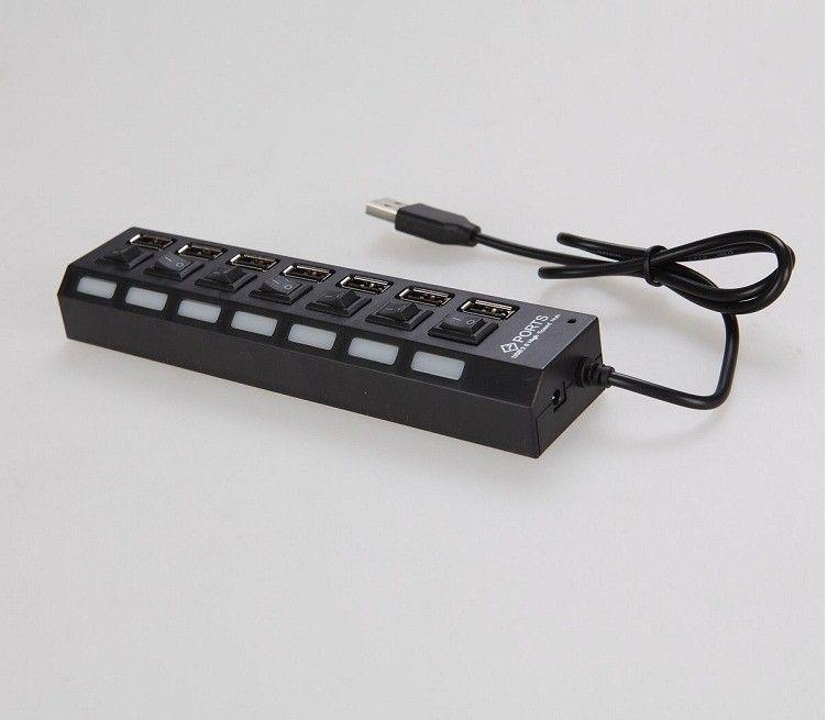 Высокая скорость черный белый 7 портов LED USB 2.0 адаптер концентратор включения / выключения питания Usb кабель Компьютерные аксессуары для ПК ноутбук