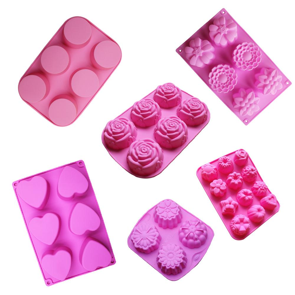 DIY handmade soap mould 6 lattices love heart rose round shape silicone cake mold chocolate molds