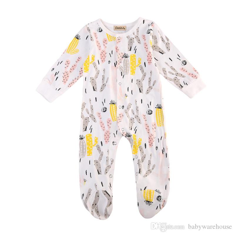 04b0ef28d19 2019 2018 Spring Newborn Baby Rompers Kids Boutique Clothing Boys Girls  Cactus Printed Jumpsuit Cotton Long Sleeve Infant Baby Clothes 0 12M From  ...