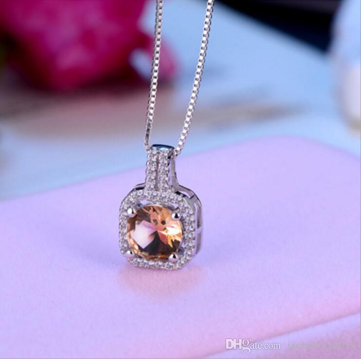 Mode Einfachen Schmuck 925 Sterling Silber Rundschnitt 5A Zirkonia CZ Party schlüsselbein Kette Diamant Frauen Nette Halskette Anhänger Geschenk