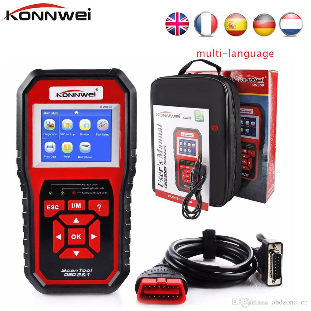 Hot Sale KONNWEI KW850 Full OBD2 Car Diagnostics Tool KW 850 Auto OBDII  Code Scanner with Multi-languages
