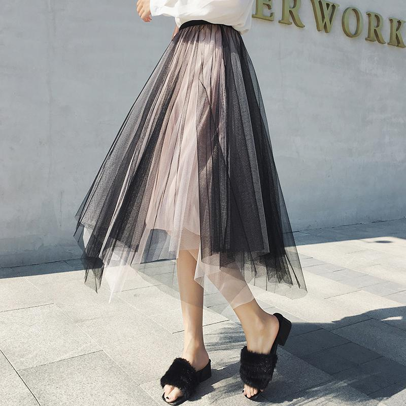 3d7eb327bc31ec ELEXS 2018 Tulle Skirts Womens Fashion Elastic High Waist Mesh Tutu Skirt  Pleated Long Skirts Midi Skirt E8720 UK 2019 From Vikey06, UK $$22.49 |  DHgate UK