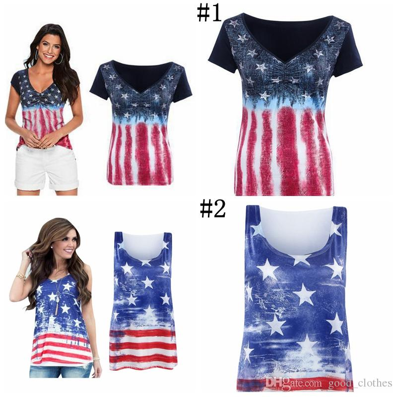 2019 Women American Flag Loose 4th Of July Short Sleeve T Shirt Tops Blouse  Plus Size YYA1056 From Good clothes adb9ea037