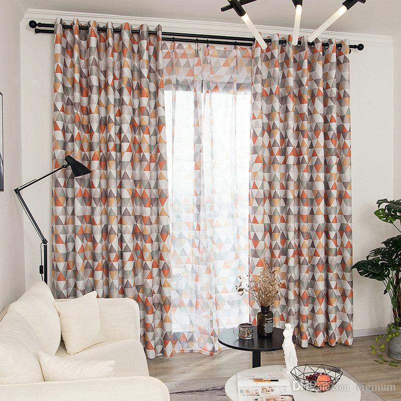 Tende moderne stampate geometriche per la camera dei bambini Soggiorno  Camera da letto Finestra Blackout Tenda da cucina Sheer Tulle Window  Treatment
