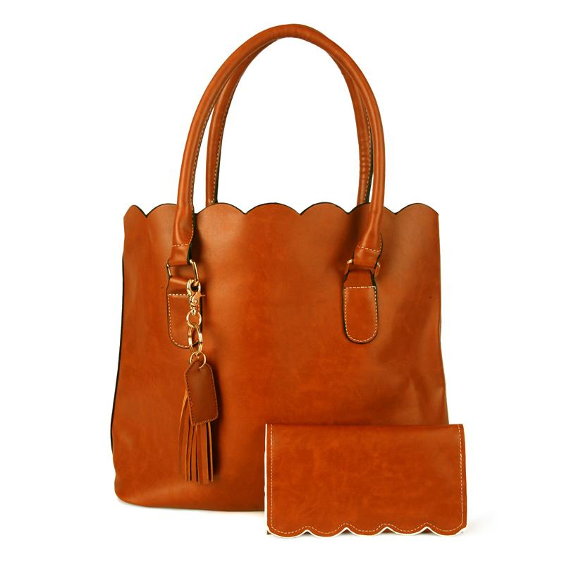 5a582b223ce Scalloped Handbag Set Wholesale Blanks Three Pieces Set Scalloped Purse  with Matched Wallet and Keychain Bag Charmer DOM106886