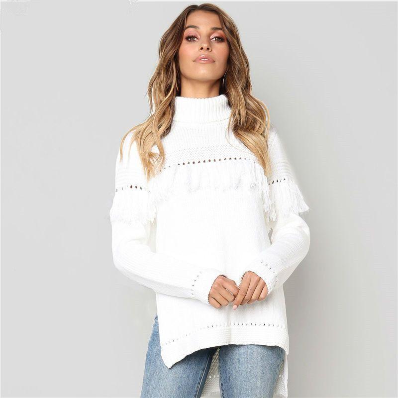 2018 Cable Knit Oversized Sweater White Turtleneck Women Tassel