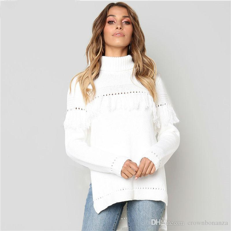 Compre Suéter De Gran Tamaño De Punto De Cable Jersey De Cuello Alto ...