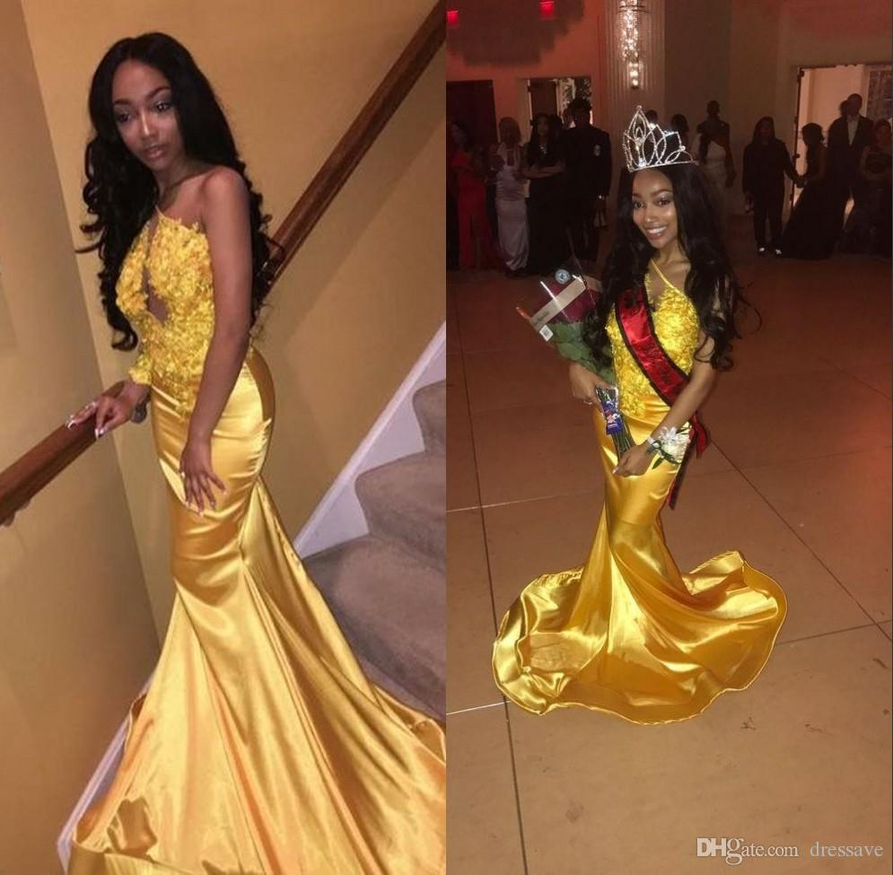 yellow prom dresses black girl
