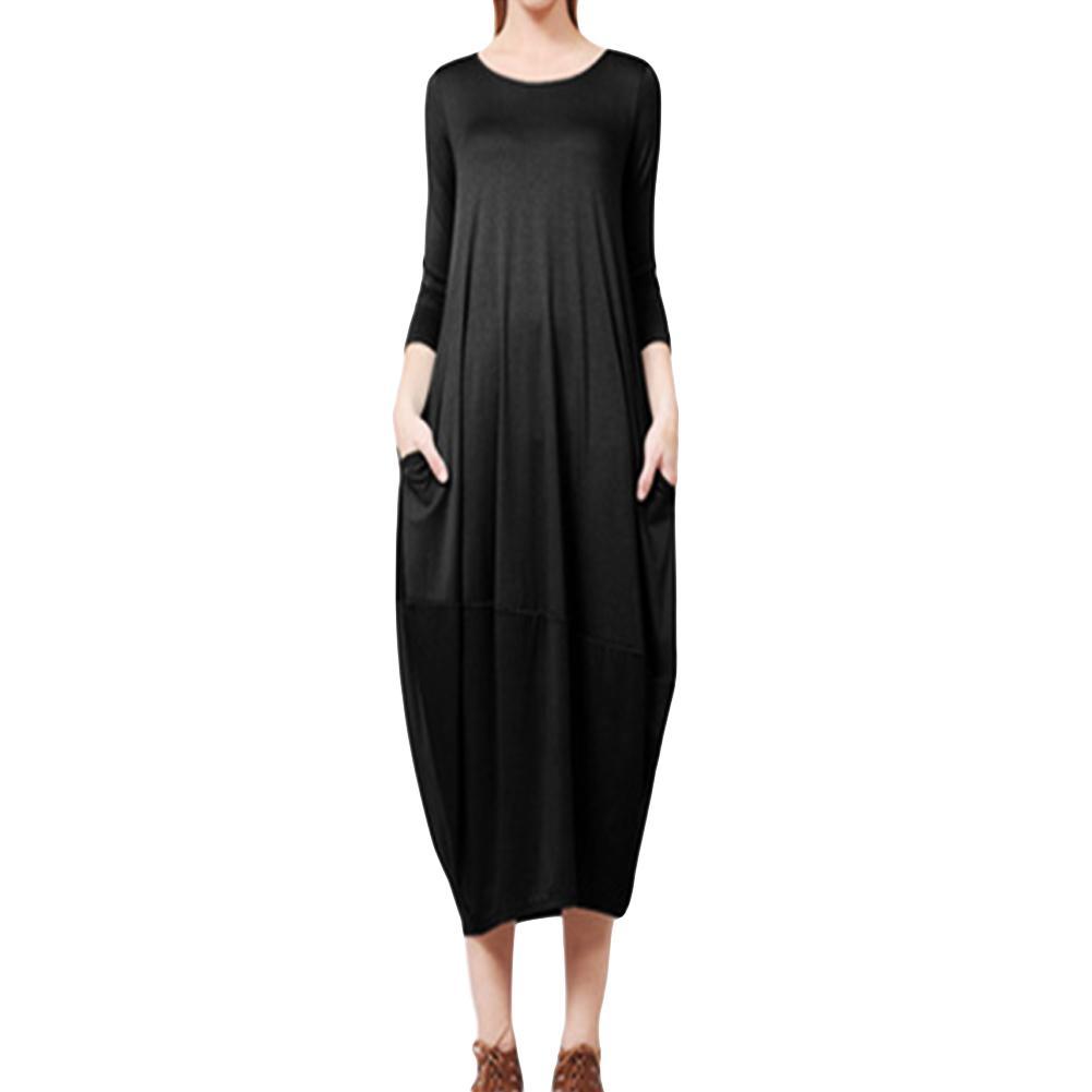 c476ec7dc3c07 2018 Spring Summer Oversized Dress 5XL Plus Size Fashion Women Baggy Dress  Side Pockets O Neck 3 4 Sleeve Loose Spring Dress Plus Size Maxi Dress  Modest ...