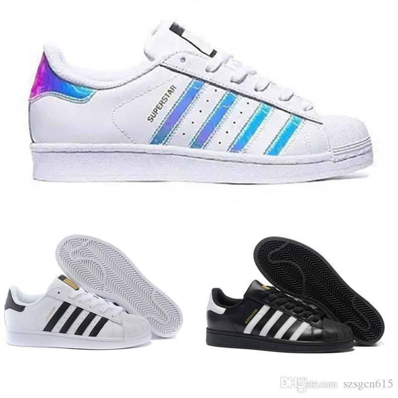 2018 originais superstar holograma branco iridescente júnior superstars 80 s orgulho sapatilhas super star mulheres homens esporte casual shoes eur 36-44