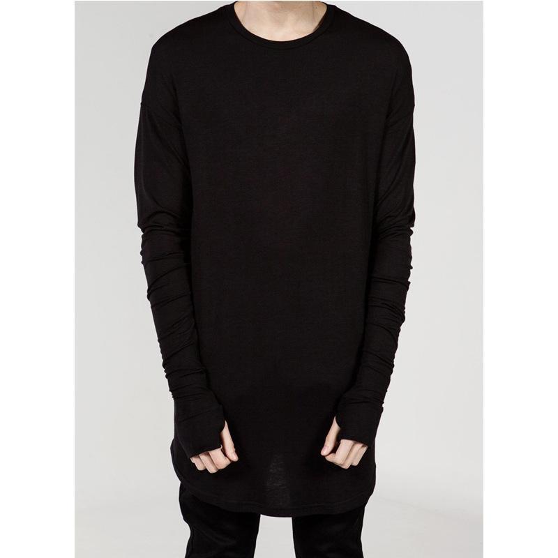 4e07ed7b High Street men s T Shirt Extended T-Shirt Men s clothing Curved Hem Long  line Tops Tees Hip Hop Urban Blank Shirts