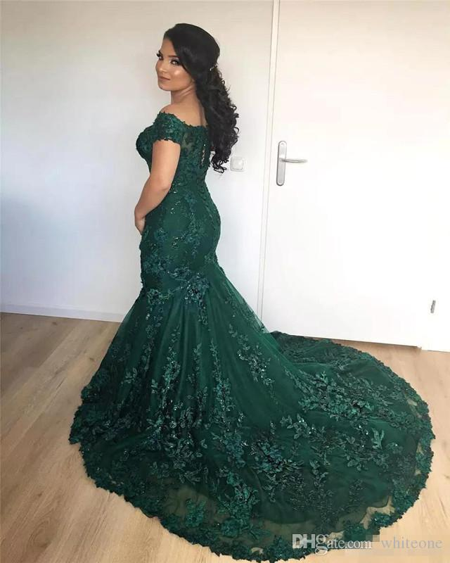 Sparkly Dark Red Mermaid Evening Dresses 2017 Arabic African Off the Shoulder Lace Sequins Corset Back Long Prom Gowns Vintage Wear BA7204