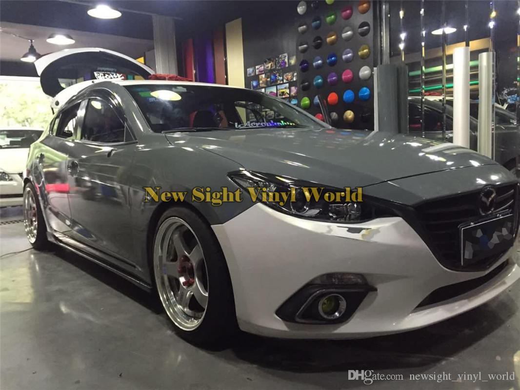 3 Layer Ultra Gloss Cement Gray Vinyl Wrap Super Glossy Grey Car Body Wrap For Car Wrapping Foil