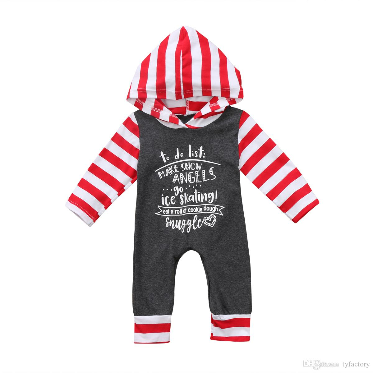 19c82c50108ec 2018 Christmas Newborn Baby Boys Girls Gray Striped Hooded Romper Long  Sleeve Bodysuit Jumpsuit Letter Print Kid Clothes Outfit 0-24M Newborn Baby  Boy ...