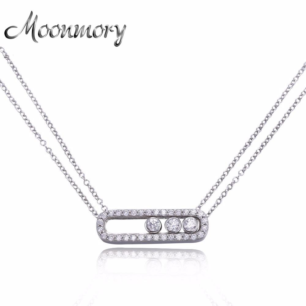 12a9a1c2609 2019 Moonmory Famous Jewelry 100% Real Pure 925 Sterling Silver Move Zircon  Necklace For Women Wedding Engagement Necklace Jewelry From Walkerstreet