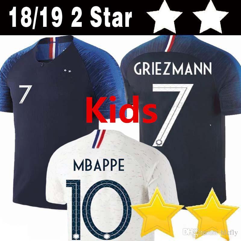 c3b4def4d Kids 2 Star GRIEZMANN  7 10 MBAPPE 6 POGBA Soccer Jersey 13 KANTE 11 ...