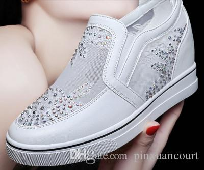 2018 summer ladies new high casual fashion shoes white shoes net shoes breathable hollow mesh temperament girls wild models discount exclusive xcIyFffwsV