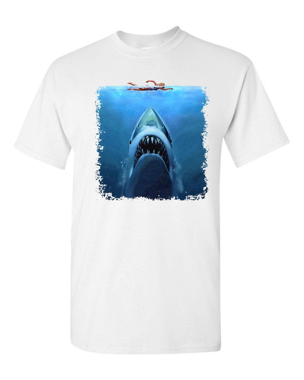 1a6b5b1c12 Shark Jaws Swimmer Attack Movie Shark Week Sublimation Men's Tee Shirt  Tshirt Male Hip Hop funny T Shirts