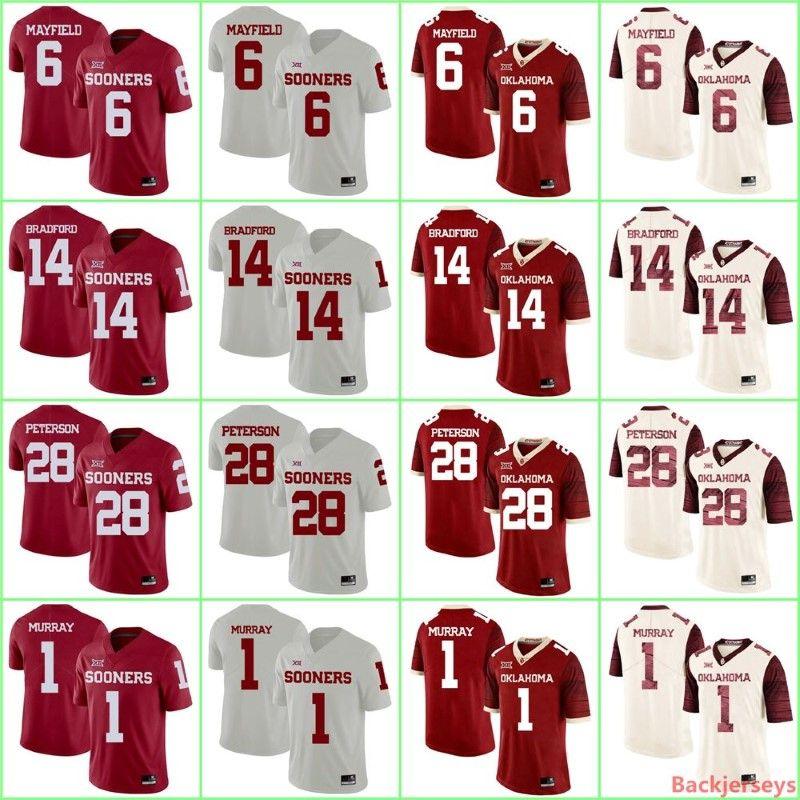 low priced 66211 0fe14 Custom NCAA Oklahoma Sooners Jersey 6 Baker Mayfield College Jerseys Sam  Bradford Adrian Peterson Football Jersey Customized