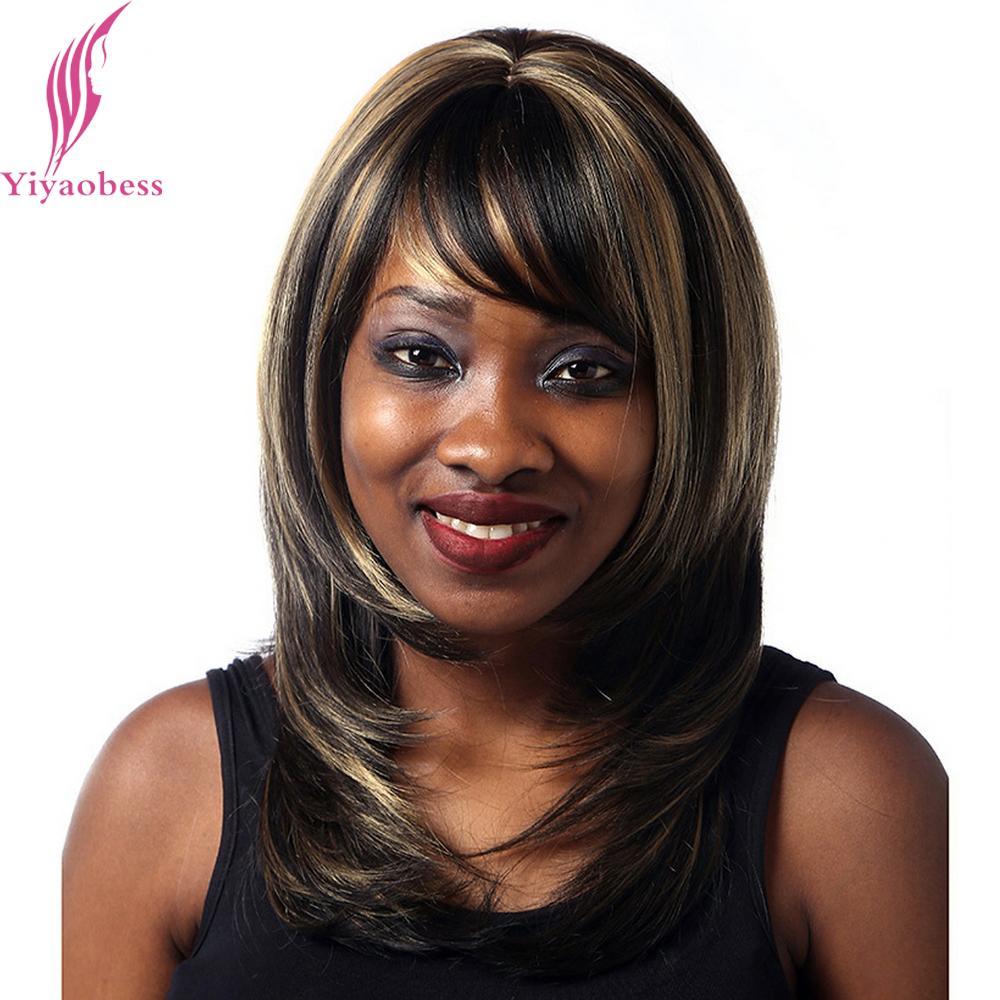 Yiyaobess 40cm Straight Dark Brown Highlights On Hair Heat Resistant