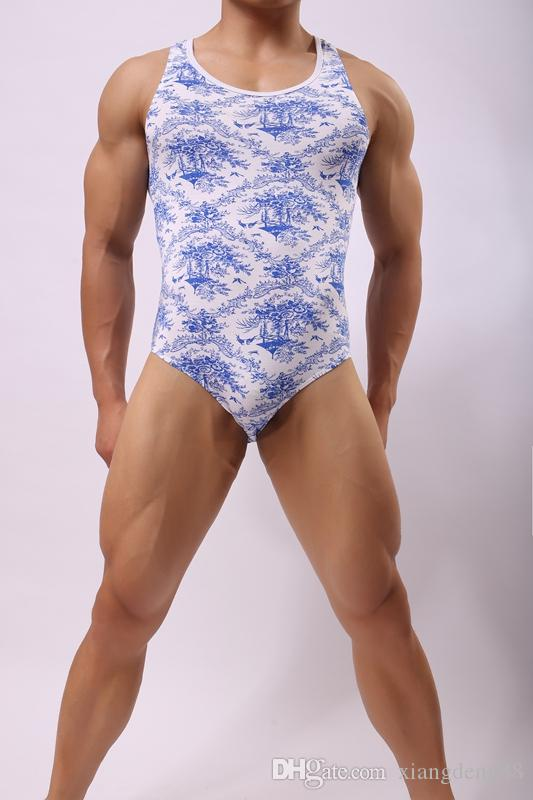 Sexy Mens Printed Leotard Slim Underwear Bodysuit Stretchy Sleeveless Wrestling Singlet Modal Jumpsuit Bulge Pouch Jockstrap