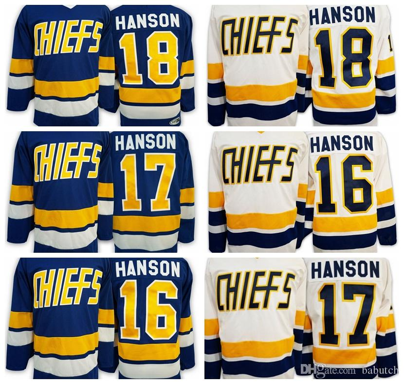1ded8de66 Slap Shot Movie Charlestown Chiefs Hockey Jersey 18 Jeff Hanson 16 Jack  Hanson 17 Steve Hanson Blue White Stitched Jerseys UK 2019 From Babutch