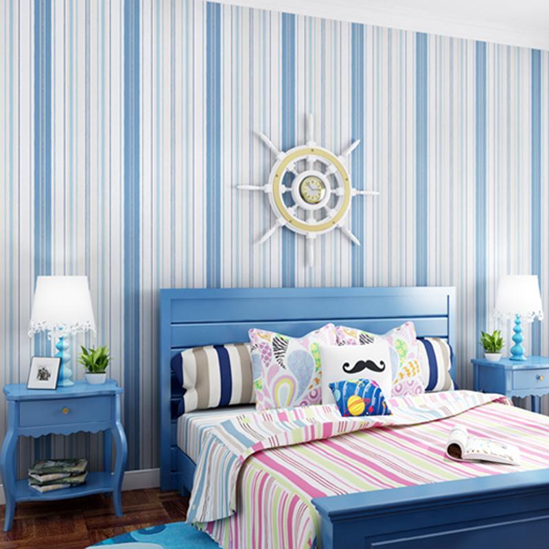 Grosshandel Pvc Tapeten Moderner Blauer Rosa Streifen Wand Aufkleber