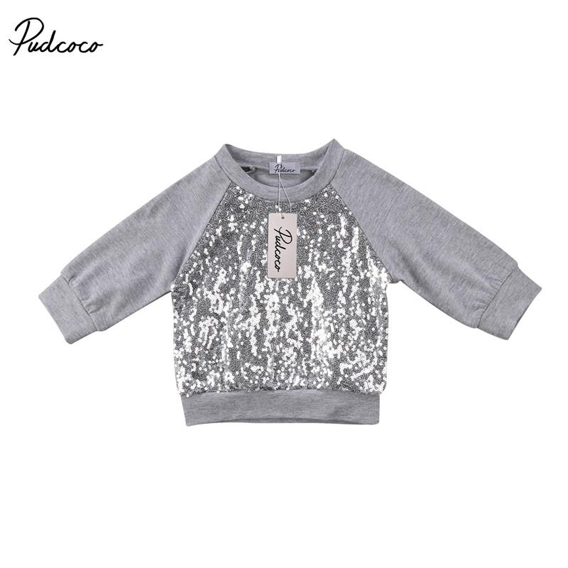 Family Matching Outfits Mother And Daughter Women Newborn Baby Girls Sequins Top Long Sleeve T-shirt Blouse Sweatshirt Clothes