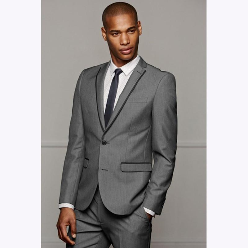 e3e540147f5 Compre Slim Fit Gris De Lujo Para Hombre Trajes Para Hombre Blazer Traje De  Boda Novio Novio Para Hombres De Negocios Vestido Gris Chaqueta +  Pantalones A ...