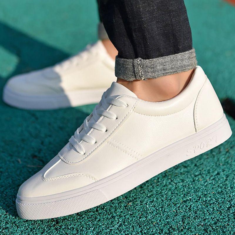 Acquista 2019 Scarpe Casual Moda Bianca Gli Studenti Solido Caviglia Lace  Up Da Uomo In Tessuto Di Cotone Resistente All usura Zapatos Hombre  Sneakers A ... 45c6a0e1219