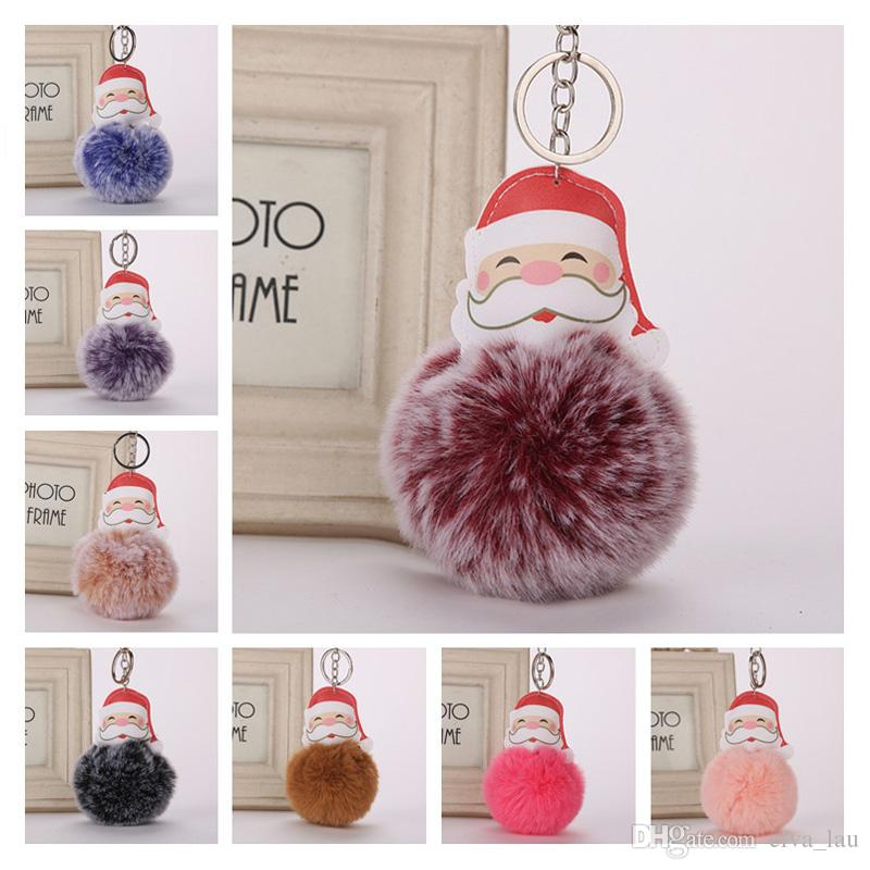 Santa Claus Faux Fur Pom Pom Keychain Car Key Ring Fluffy Puff Ball Keychain  For Women HandBag Keychain Charms Best Christmas Gift Accessory UK 2019  From ... 7ec023618