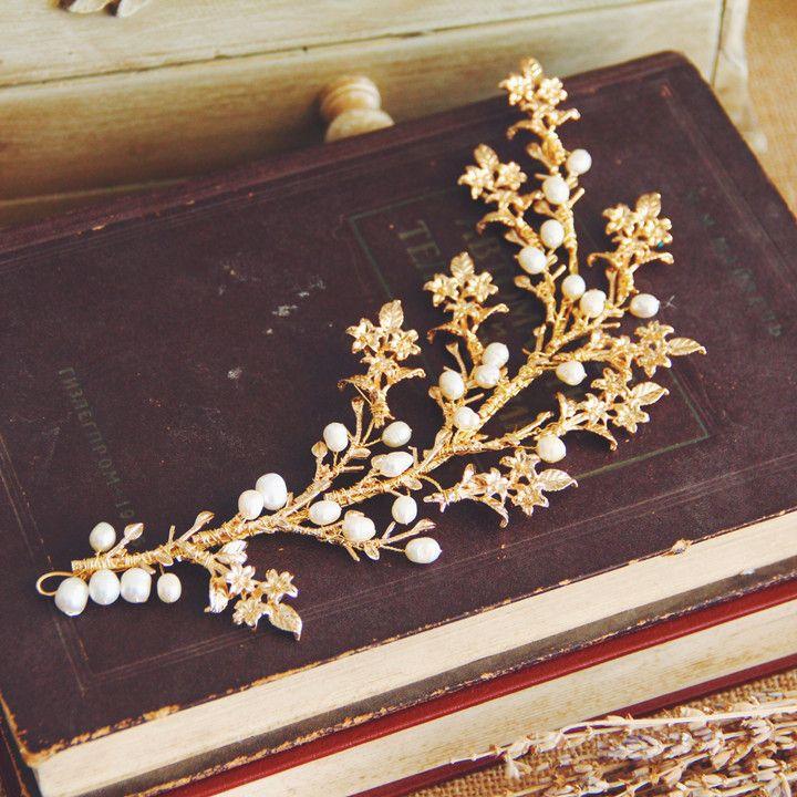 Gold Exquisite Flower Pearl Wedding Hair Vine Bridal Accessories Handmade Headband Vintage Women Headpiece Hair Jewelry