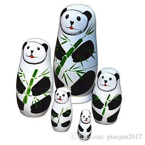 Cute Matryoshka Russian Doll Panda Dolls Hand Painted Wooden Toys Chinese Handmade Craft Gift