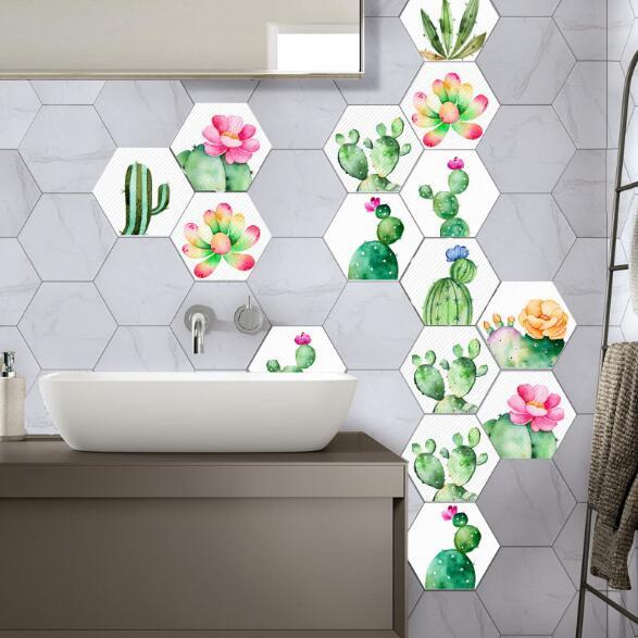 cactus hexagon wall stickers green plants wall decals home decor