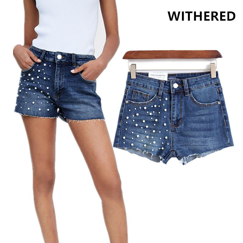 1f73942330 2019 Withered Summer Denim Shorts Women England High Street Vintage Pearls  Burrs Stretch Washed Harem Denim Shorts Women Plus Size From Bunnier, ...