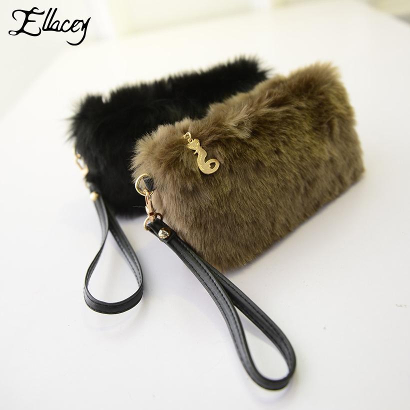 dcfca7da81 Ellacey Winter Women Casual Clutch Bags Faux Fur Small Handbags Socialite  Mini Tote Bag Hairy Day Clutches Lovely Furry Purse Bags For Women Cute  Purses ...